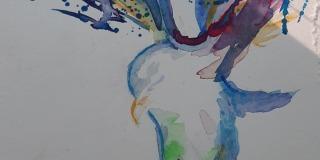 ptič-akvarel